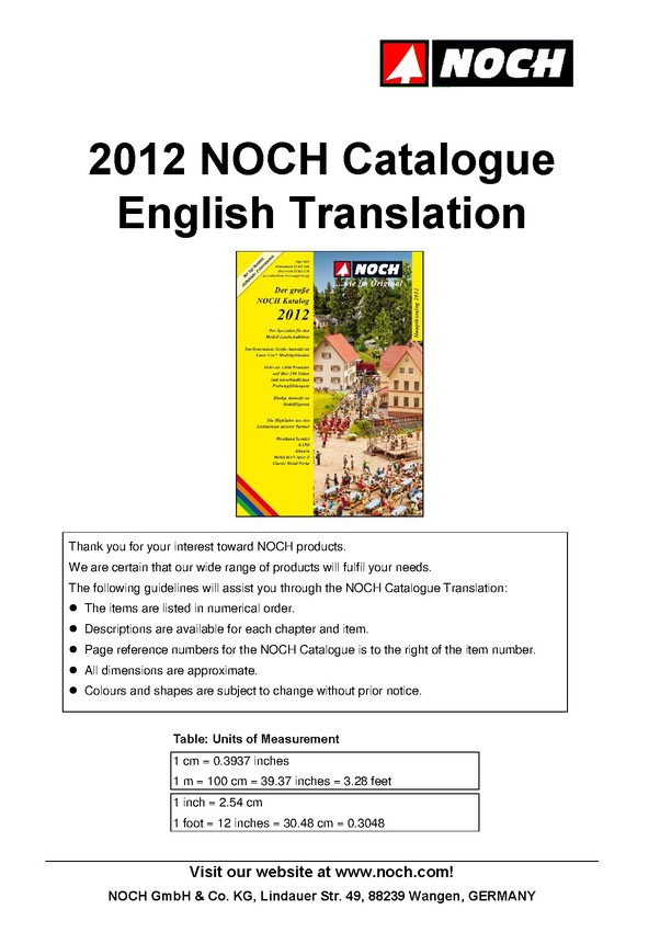 Translation of NOCH Catalogue 2012