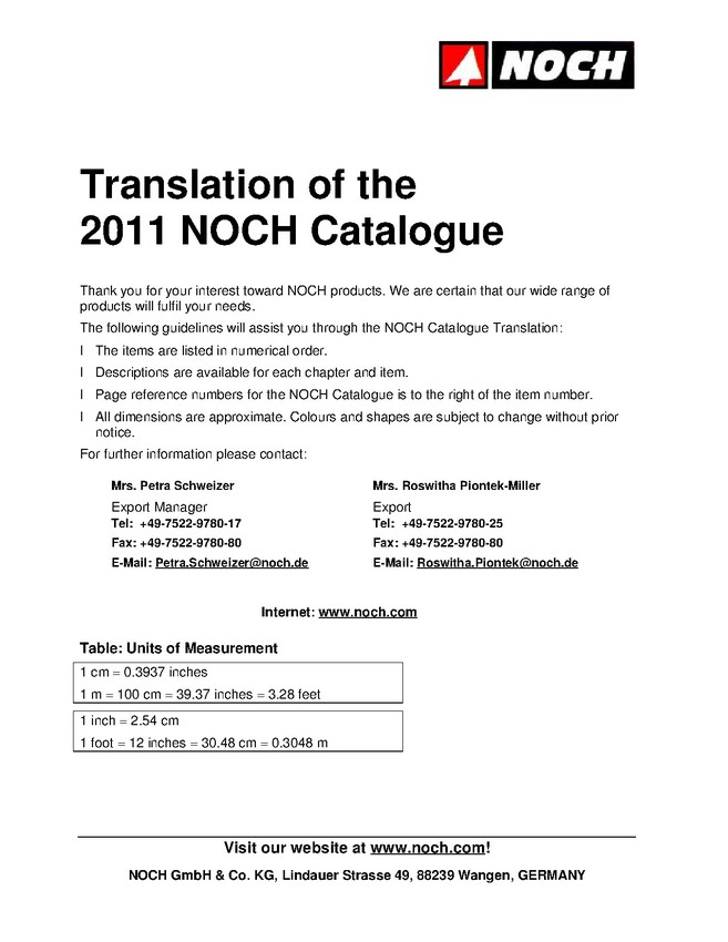 Translation of NOCH Catalogue 2011