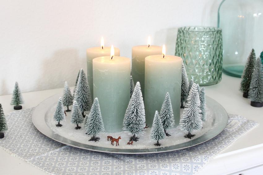 Adventskranz mit Miniatur-Winterwald!